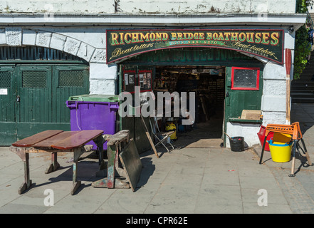 Richmond Bridge Boathouses boat builders at Richmond on Thames London UK - Stock Photo