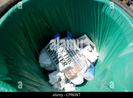 Copy of the Daily Mail in rubbish bin in London street - Stock Photo