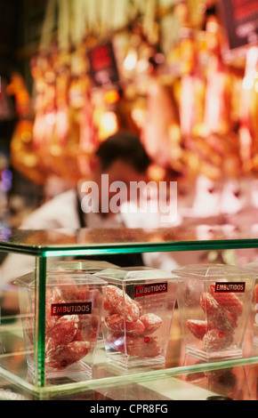 Typical cold cut stand. Mercado de San Miguel. Madrid. Spain - Stock Photo