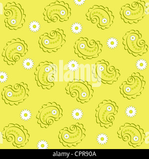 Paisley and flowers pattern on light green - Stock Photo