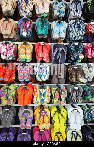Beach sandals being sold in Rio de Janeiro - Stock Photo