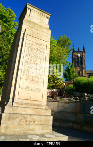 UK,South Yorkshire,Rawmarsh,Near Rotherham,War Memorial & St Mary's Church - Stock Photo