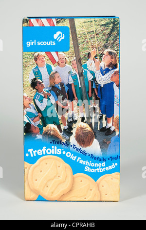 A box of Trefoils Girl Scout cookies.  - Stock Photo