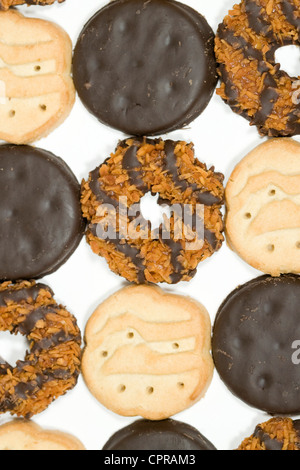 Thin Mints, Trefoils and Samoas Girl Scout cookies.  - Stock Photo