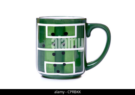 mug, cup with a painted football field - Stock Photo