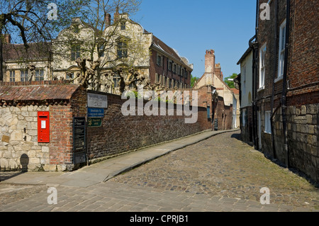 Looking towards the Treasurer's House in spring Chapter House Street in the city town centre York North Yorkshire England UK United Kingdom Britain