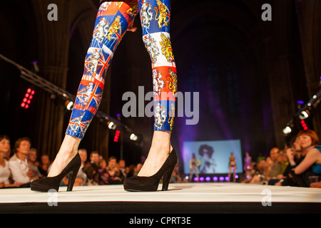 Fashion model on runway as part of The Frock Show, Brighton Fashion Week.  Designer: Charles of London. 30 May 2012. - Stock Photo