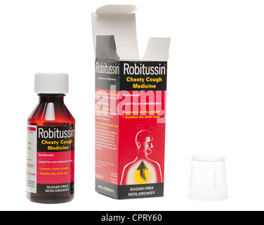 Bottle of Robitussin cough medicine mixture - Stock Photo
