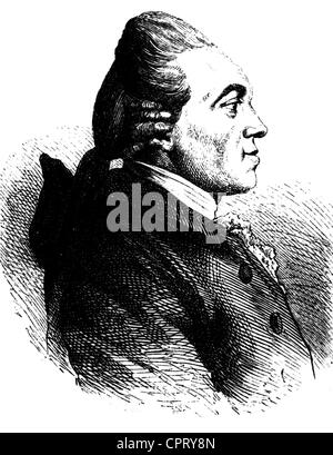 Nicolai, Christoph Friedrich, 18.3.1733 - 8.1.1811, German bookseller, author / writer, portrait, wood engraving, - Stock Photo
