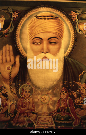 Nanak Dev, 15.4.1469 - 1539, Indian Guru, founder of Sikhism, portrait, Indian painting, Additional-Rights-Clearances - Stock Photo