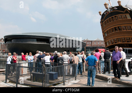 The new Mary Rose Exhibition Hall alongside HMS Victory in Portsmouth Historic Dockyard  southern England UK Opening - Stock Photo