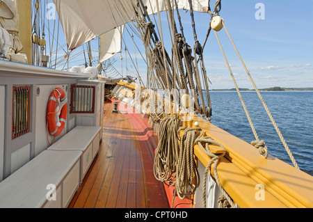 View from brig sailing in the Stockholm archipelago - Stock Photo