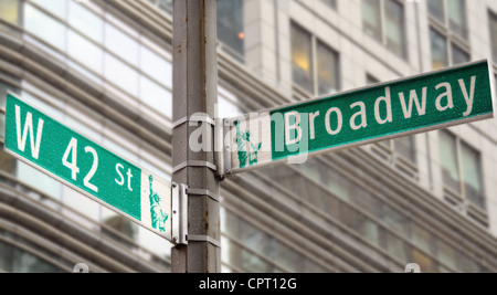 Street signs for Broadway and 42nd street in New York City - Stock Photo