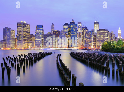 Lower Manhattan at night in New York City - Stock Photo