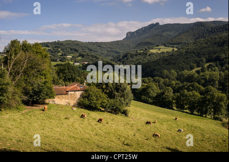 Scenic rural views of the landscape near the town of Aspet, in the foothills of the Pyrenees mountains, France. - Stock Photo