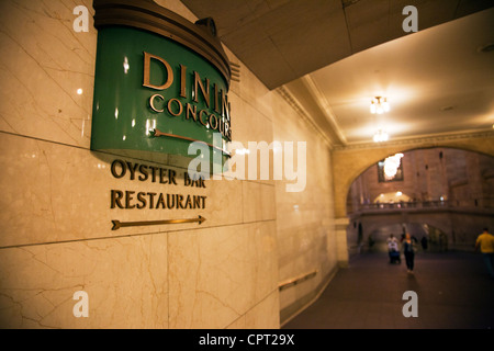 Inside Grand Central Station the iconic hub of the subway system sign for oyster bar  in Manhattan, New York City, - Stock Photo