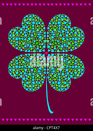 A shamrock made of smaller hearts - Stock Photo