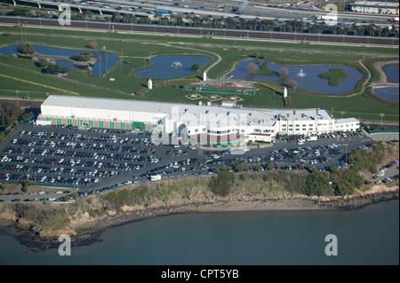 aerial photograph Golden Gate Fields horse racetrack Alameda County, California - Stock Photo