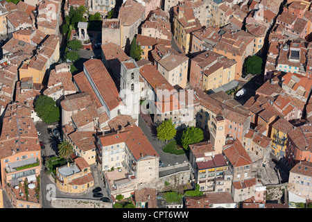 CATHEDRAL OF NOTRE-DAME DU PUY DE GRASSE (aerial view). City of Grasse, French Riviera's backcountry, France. - Stock Photo