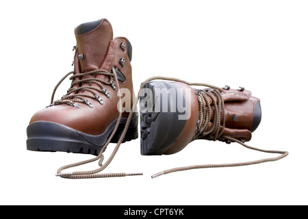 A pair of brand new hiking boots isolated on white.Concept prepared, ready, enduring, endurance, ready for anything. - Stock Photo