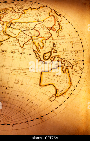 Old world map on vintage grunge paper texture stock photo royalty old vintage compass on ancient map part of old world map showing indian ocean and australia focus is on australia gumiabroncs Image collections