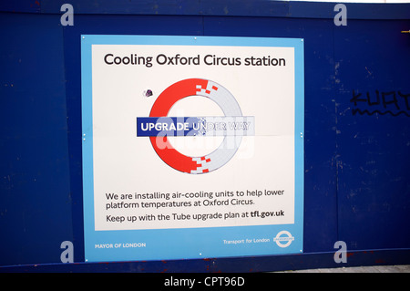 Cooling Oxford Circus station. A programme to install air-cooling in London Underground stations - Stock Photo