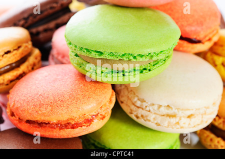 Colorful macaroons on white background - Stock Photo