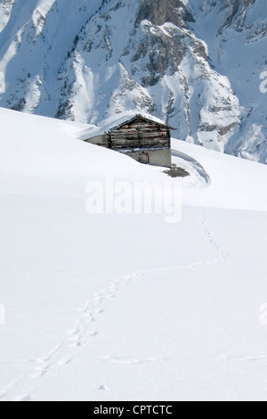 A hut in the mountains - Stock Photo
