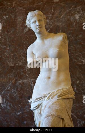 Ancient Greek Statue of Aphrodite of Milos, Venus de Milo, 100 BC, by Alexandros of Antioch, Musee du Louvre Museum - Stock Photo