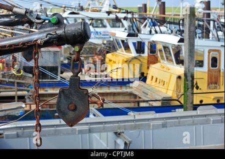 Fishing boats / Mussel cutters in the harbour of Yerseke along the Oosterschelde / Eastern Scheldt, Zealand, the - Stock Photo