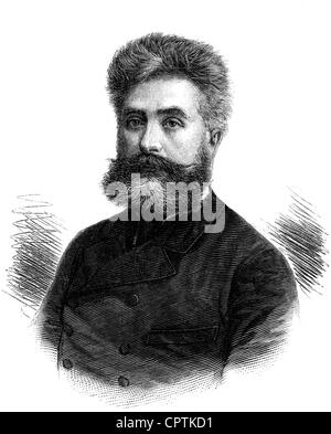 Nordau, Max, 29.7.1849 - 23.1.1923, Hungarian author / writer, medical doctor, portrait, wood engraving, 19th century, - Stock Photo