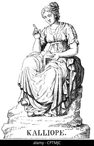 Muses, protectresses of the fine arts in the Greek mythology, Calliope, Muse of poetry, wood engraving, 19th century, - Stock Photo