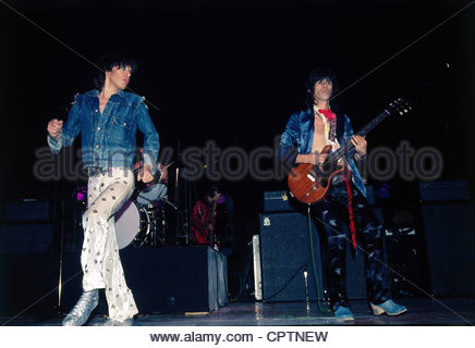 Rolling Stones, British rock group, Mick Jagger and Keith Richards during a concert, 1970s, jeans jacket, musicians, - Stock Photo