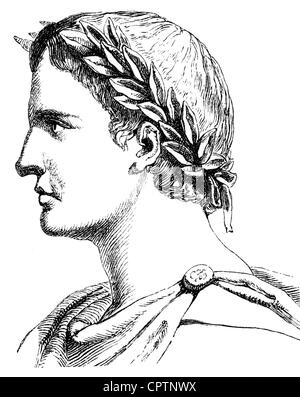 Ovid (Publius Ovidius Naso), 43 BC - 9 AD, Roman author / writer (poet), portrait, profile, wood engraving, 19th century, Stock Photo