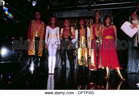 Genghis Khan (Dschinghis Khan), German pop group, group picture, on stage, wearing costumes, early 1980s, Leslie - Stock Photo