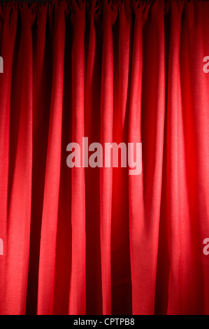 Red curtains on stage - Stock Photo