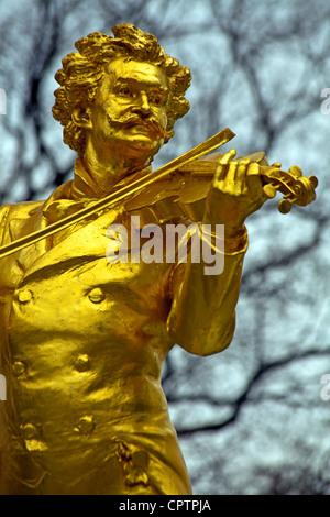 Johan Strauss Statue in the Stadpark Vienna, Austria - Stock Photo
