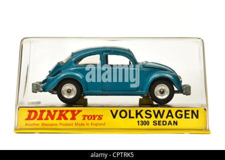 1960's vintage Dinky Toys No 129 Volkswagen Beetle 1300 Sedan diecast model car in original packaging - Stock Photo
