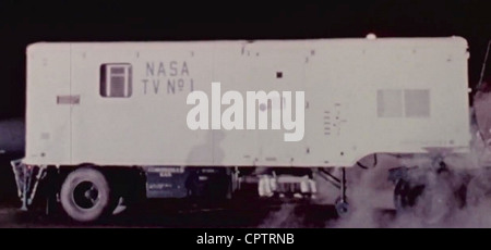 NASA television trailer carrying astronaut Alan Shepard to the launch area for his Mercury-Redstone 3 mission in - Stock Photo