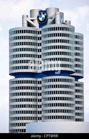 Modern architecture at the BMW Headquarters office blocks in Munich, Bavaria, Germany - Stock Photo