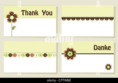 Set of four greeting cards - suitable as thank you notes and invitations. CMYK colors, bleed included. - Stock Photo