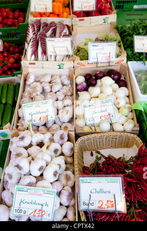 Fresh vegetables on sale at Viktualienmarkt food market in Munich, Bavaria, Germany - Stock Photo