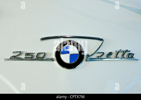 BMW 250 Isetta badge on bubble car at the BMW Factory and Headquarters in Munich, Bavaria, Germany - Stock Photo