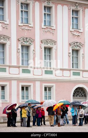 Tourists visit Konigliches Schloss in Schlossplatz, Berchtesgaden in Baden-Wurttenberg, Bavaria, Germany - Stock Photo