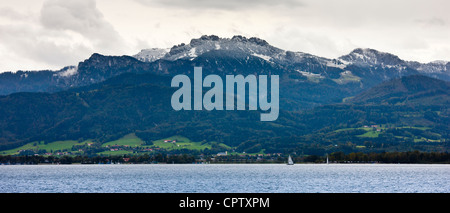Chiemsee Lake and Bavarian Alps in Baden-Wurttenberg, Bavaria, Germany - Stock Photo
