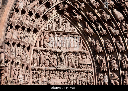 The Cathedral of Notre Dame, Our Lady, detail of tympanum and archivolts at Strasbourg, Alsace, France - Stock Photo