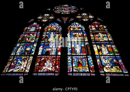 Stained glass window in The Cathedral of Notre Dame, Our Lady, at Strasbourg, Alsace, France - Stock Photo