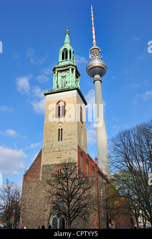 Berlin, Germany. Fernsehturm / Television Tower (1969; 365m/1197ft high) Marienkirche / St Mary's church (14thC) - Stock Photo