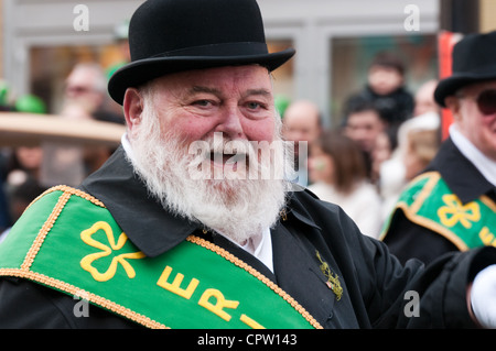 People celebrating St Patrick's day parade in Montreal Canada -Many Montrealers are proud of their Irish roots - Stock Photo