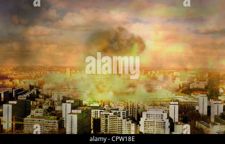 nuclear bomb in the city concept of vision apocaliptic world - Stock Photo